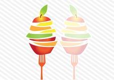 Reflex av färgrika skivor för ny frukt, illustrationer stock illustrationer