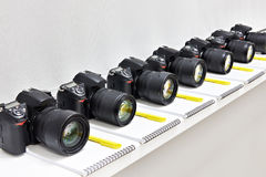 Reflex digital cameras in the classroom photoschool Royalty Free Stock Photo