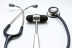 Reflex Hammer and Stethoscope royalty free stock photos
