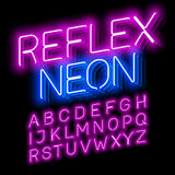 Reflex Neon. Font on black Stock Photography