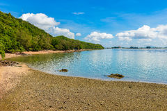 Reflex picture of beach, sea and blue Sky in Kung Krabaen Bay Ch. Athaburi Province, Thailand Stock Photos
