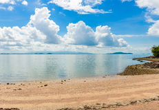 Reflex picture of beach, sea and blue Sky in Kung Krabaen Bay Ch. Athaburi Province, Thailand Stock Photo