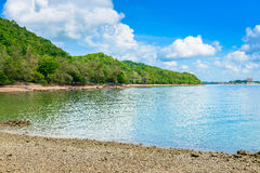 Reflex picture of beach, sea and blue Sky in Kung Krabaen Bay Ch. Athaburi Province, Thailand Royalty Free Stock Images