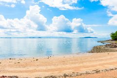 Reflex picture of beach, sea and blue Sky in Kung Krabaen Bay Ch. Athaburi Province, Thailand Royalty Free Stock Photos
