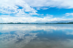 Reflex picture of sea and blue Sky at  Mangrove forest in Kung Krabaen Bay Chathaburi Province, Thailand Stock Images