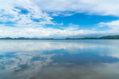 Reflex picture of sea and blue Sky at  Mangrove forest in Kung Krabaen Bay Chathaburi Province, Thailand Stock Photos