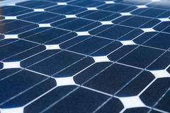 Reflex of the sky on the solar cell or photovoltaic modules, background of photovoltaic modules for renewable energy, green energy Royalty Free Stock Photos