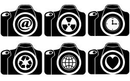 Reflex with symbol on lens Stock Images