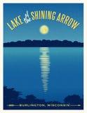 Reflexión brillante de la luna en el cartel del viaje del lago Imagenes de archivo