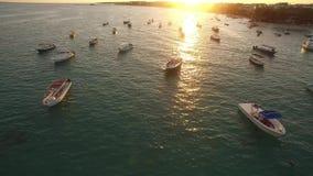 Reflexión clara de la puesta del sol del agua del océano almacen de video