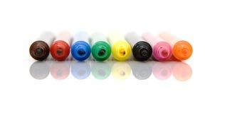 Reflexión colorida de las etiquetas de plástico Imágenes de archivo libres de regalías