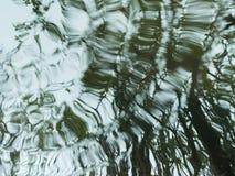 Reflexión de árboles en la superficie del agua durante la lluvia Fotografía de archivo