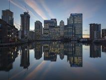 Reflexión de Canary Wharf Foto de archivo libre de regalías