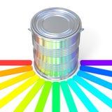 Reflexión de la guía de los colores en una lata Fotos de archivo libres de regalías