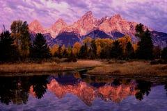 Reflexión de la mañana de Teton Imágenes de archivo libres de regalías
