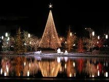 reflexión de la Navidad en la noche fotografía de archivo