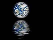 Reflexión de la tierra del planeta Fotografía de archivo