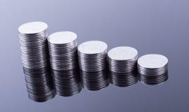 Reflexión de las finanzas y beneficio de negocio monedas del metal Fotografía de archivo libre de regalías