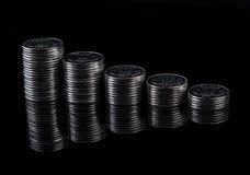 Reflexión de las finanzas y beneficio de negocio monedas del metal Imagen de archivo libre de regalías