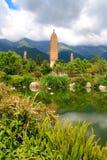 Reflexión de las tres pagodas en Dali Foto de archivo