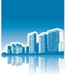 Reflexión de los edificios de la ciudad ilustración del vector