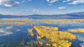 reflexión de nubes en el humedal del lago Doriani en un invierno Foto de archivo