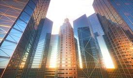 reflexión de Sun del paisaje urbano 3D Foto de archivo libre de regalías