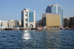 Reflexión de Sun en Dubai Creek Fotografía de archivo libre de regalías