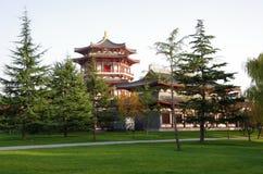 Reflexión de Tang Paradise Center en la noche, XI `, China fotos de archivo