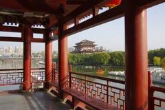 Reflexión de Tang Paradise Center en la noche, XI `, China imágenes de archivo libres de regalías