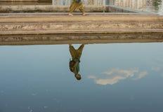Reflexión de una muchacha en el lago Fotos de archivo libres de regalías