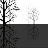 Reflexión del bosque en monótono stock de ilustración