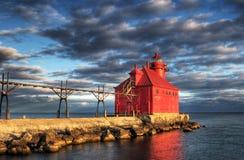 Reflexión del faro de la bahía del esturión Imagen de archivo
