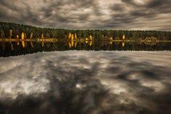 Reflexión del ingenio del bosque y del paisaje en el lago Foto de archivo libre de regalías