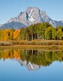 Reflexión del Mt. Moran en la curva de Oxbow Fotografía de archivo libre de regalías