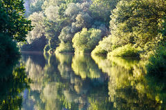 Reflexión hermosa en el río de Cetina cerca partido Foto de archivo