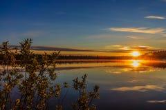Reflexión, lago, charca, verano, árboles en la orilla, Fotografía de archivo libre de regalías
