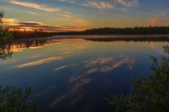 Reflexión, lago, charca, verano, árboles en la orilla, Imágenes de archivo libres de regalías