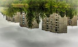 Reflexión, lago, charca, verano, árboles en la orilla, Fotografía de archivo