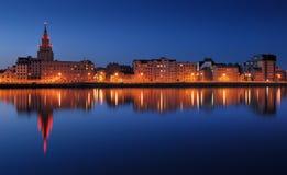 Reflexion. Quay of Daugava river in Riga, Latvia Royalty Free Stock Images