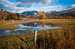 Reflexion av Ben Lomond, Queenstown, Otago, Nya Zeeland Arkivbilder