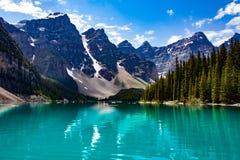 Reflexion av berg i den gröna sjön Arkivfoton