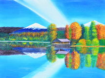 Reflexion av berget och himmel på den olje- målningen för sjö på kanfas Royaltyfria Bilder