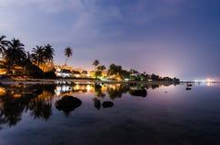 Reflexion av den lilla staden Fotografering för Bildbyråer