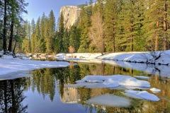 Reflexion av El Capitan, Yosemite dal, Yosemite nationalpark Arkivbilder