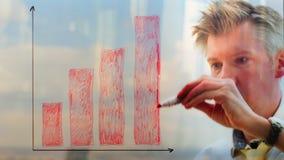 Reflexion av en affärsman som drar en graf på ett fönster stock video