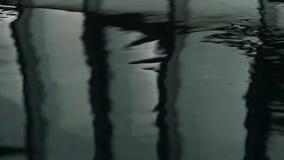 Reflexion av fönster i simbassäng mörkt krusigt vatten långsam rörelse arkivfilmer