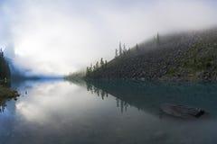 Reflexion av kusten av sjön i den vattniga yttersidan arkivfoton
