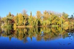 Reflexion av nedgången i vattnet Fotografering för Bildbyråer