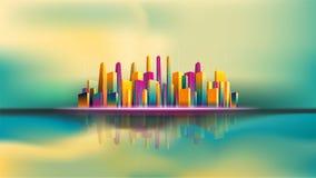 Reflexion av skyskrapastaden på vatten Smart stad vektor illustrationer